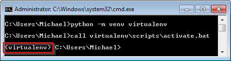 Screenshot of an activate Python 3 virtual environment on Windows